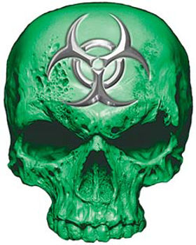 Skull Decal / Sticker in Green with Bio Hazard Emblem