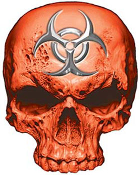 Skull Decal / Sticker in Orange with Bio Hazard Emblem