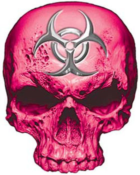 Skull Decal / Sticker in Pink with Bio Hazard Emblem