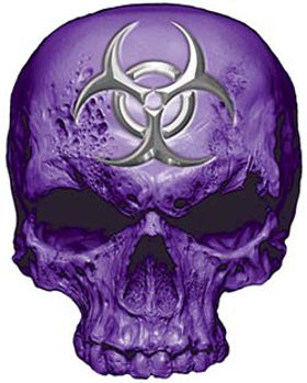 Skull Decal / Sticker in Purple with Bio Hazard Emblem