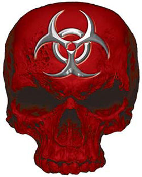 Skull Decal / Sticker in Red with Bio Hazard Emblem