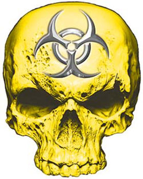Skull Decal / Sticker in Yellow with Bio Hazard Emblem