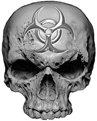 Skull Decal / Sticker in Gray with Bio Hazard Emblem