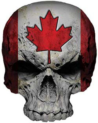 Skull Decal / Sticker with Canada Flag