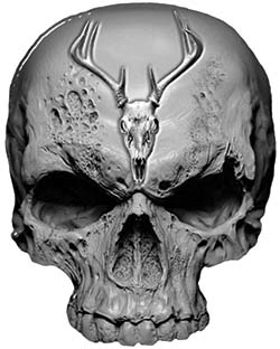 Skull Decal / Sticker in Gray with Deer Skull