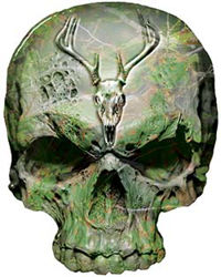 Skull Decal / Sticker in Camo with Deer Skull