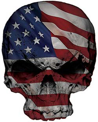 Skull Decal / Sticker with American Flag