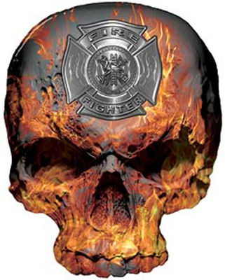 Skull Decal / Sticker in GreenSkull Decal / Sticker with Inferno Flames and Firefighter Maltese Cross