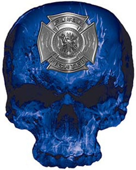 Skull Decal / Sticker with Blue Inferno Flames and Firefighter Maltese Cross
