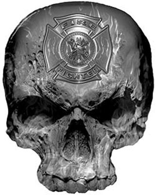 Skull Decal / Sticker with Gray Inferno Flames and Firefighter Maltese Cross
