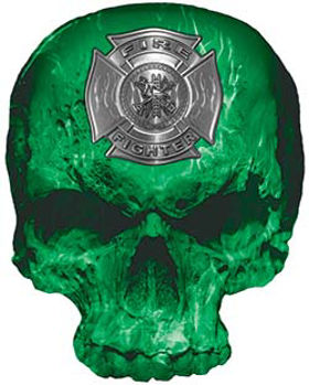 Skull Decal / Sticker with Green Inferno Flames and Firefighter Maltese Cross