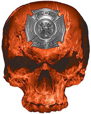 Skull Decal / Sticker with Orange Inferno Flames and Firefighter Maltese Cross