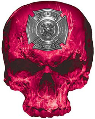 Skull Decal / Sticker with Pink Inferno Flames and Firefighter Maltese Cross