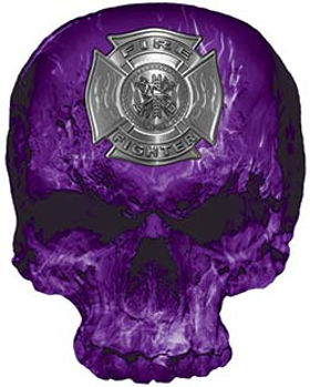Skull Decal / Sticker with Purple Inferno Flames and Firefighter Maltese Cross