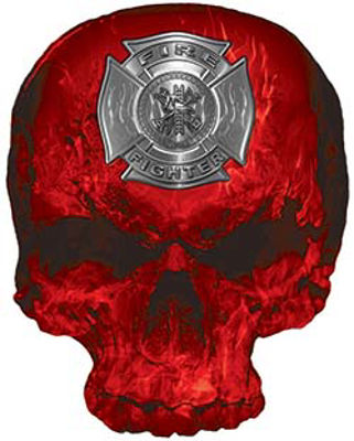 Skull Decal / Sticker with Red Inferno Flames and Firefighter Maltese Cross