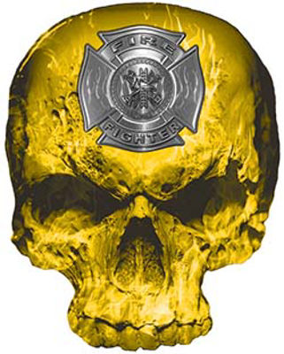 Skull Decal / Sticker with Yellow Inferno Flames and Firefighter Maltese Cross
