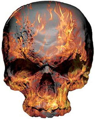 Skull Decal / Sticker with Inferno Flames