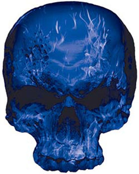 Skull Decal / Sticker with Blue Inferno Flames