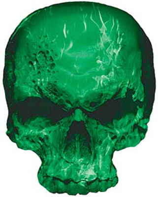 Skull Decal / Sticker with Green Inferno Flames