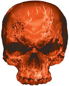 Skull Decal / Sticker with Orange Inferno Flames