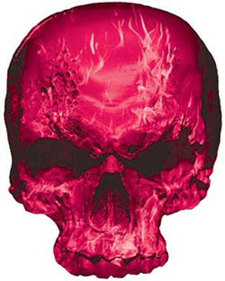 Skull Decal / Sticker with Pink Inferno Flames