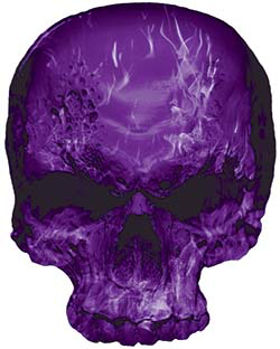 Skull Decal / Sticker with Purple Inferno Flames