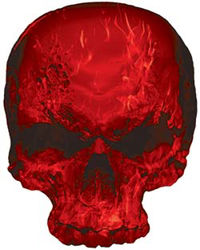 Skull Decal / Sticker with Red Inferno Flames
