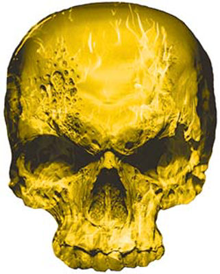 Skull Decal / Sticker with Yellow Inferno Flames