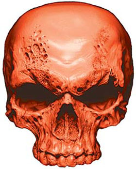 Skull Decal / Sticker in Orange