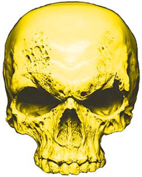 Skull Decal / Sticker in Yellow