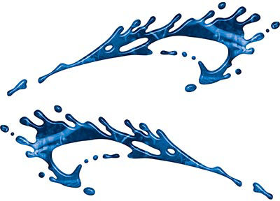 Splashed Paint Graphic Decal Set in Blue Camouflage