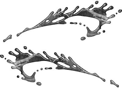 Splashed Paint Graphic Decal Set in Gray Camouflage