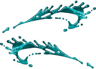 Splashed Paint Graphic Decal Set in Teal Camouflage