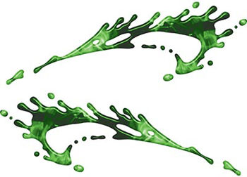 Splashed Paint Graphic Decal Set in Inferno Green