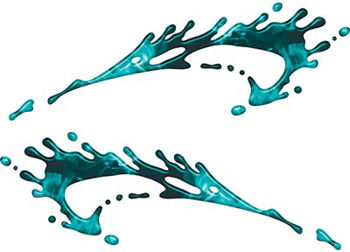 Splashed Paint Graphic Decal Set in Inferno Teal