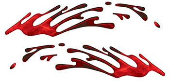 Wave Spash Paint Graphic Decal Set in Inferno Red