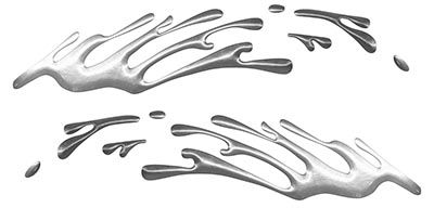 Wave Spash Paint Graphic Decal Set in Silver