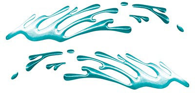 Wave Spash Paint Graphic Decal Set in Teal