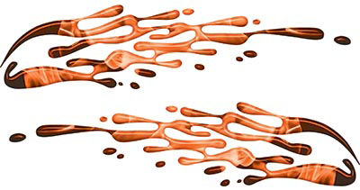 Thin Spash Paint Graphic Decal Set in Inferno Orange