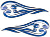 Custom Motorcycle Tank Flames or Vehicle Flame Decal Kit in Blue
