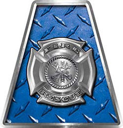 Fire Fighter, EMS, Rescue Helmet Tetrahedron Decal Reflective in Blue Diamond Plate with Maltese Cross