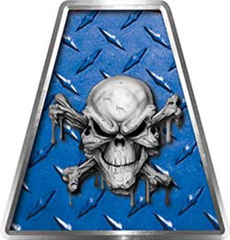 Fire Fighter, EMS, Rescue Helmet Tetrahedron Decal Reflective in Blue Diamond Plate with Skull and Crossbones