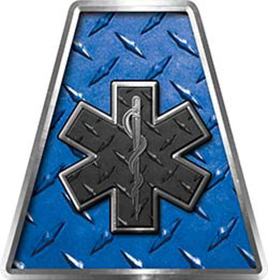 Fire Fighter, EMS, Rescue Helmet Tetrahedron Decal Reflective in Blue Diamond Plate with Star of Life