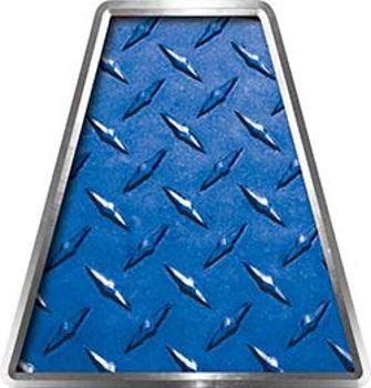 Fire Fighter, EMS, Rescue Helmet Tetrahedron Decal Reflective in Blue Diamond Plate
