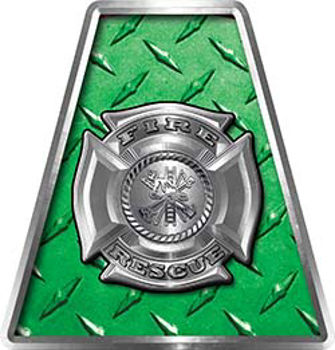 Fire Fighter, EMS, Rescue Helmet Tetrahedron Decal Reflective in Green Diamond Plate Maltese Cross