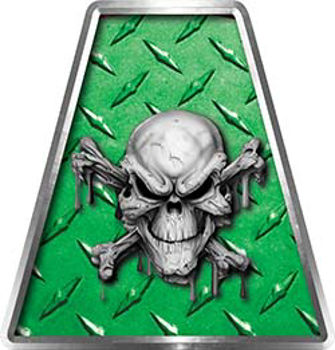 Fire Fighter, EMS, Rescue Helmet Tetrahedron Decal Reflective in Green Diamond Plate with Skull and Crossbones