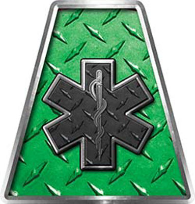 Fire Fighter, EMS, Rescue Helmet Tetrahedron Decal Reflective in Green Diamond Plate with Star of Life