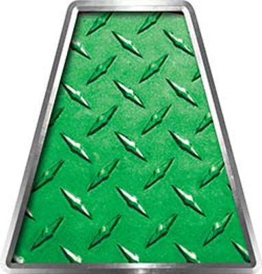 Fire Fighter, EMS, Rescue Helmet Tetrahedron Decal Reflective in Green Diamond Plate