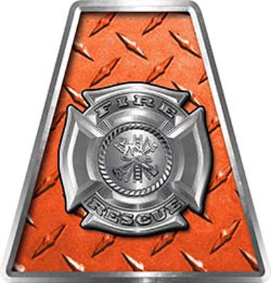 Fire Fighter, EMS, Rescue Helmet Tetrahedron Decal Reflective in Orange Diamond Plate with Maltese Cross