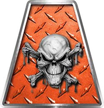 Fire Fighter, EMS, Rescue Helmet Tetrahedron Decal Reflective in Orange Diamond Plate with Skull and Crossbones